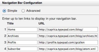 Navigation Bar Simple Configuration