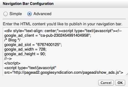 Navigation Bar Configuration Advanced