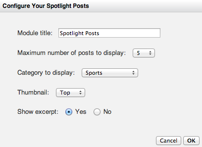 Spotlight Posts Options