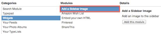 Add A Sidebar Image Module