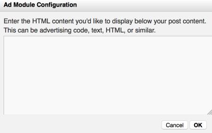 Ad Module Configuration Window