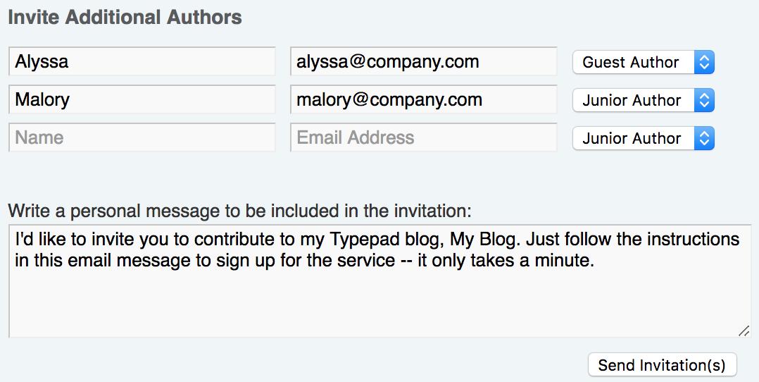 Inviting Authors